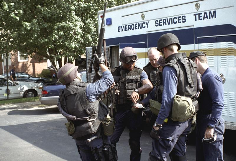 Police SWAT Team preprares for action stock photo