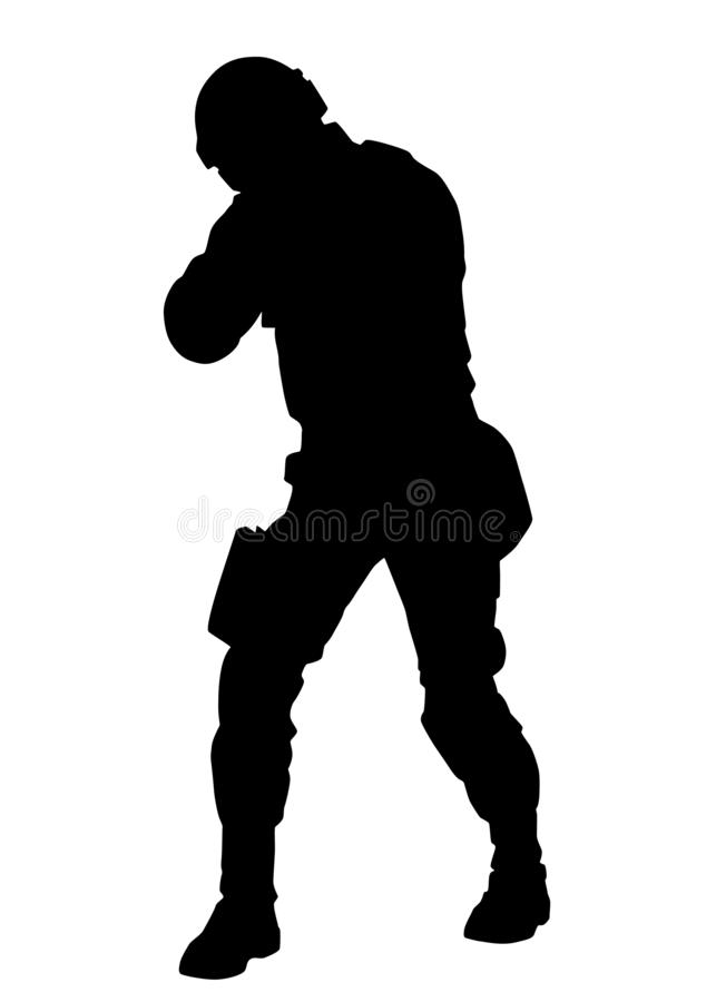 Armed policeman in anti-riot ammunition black silhouette royalty free stock photography