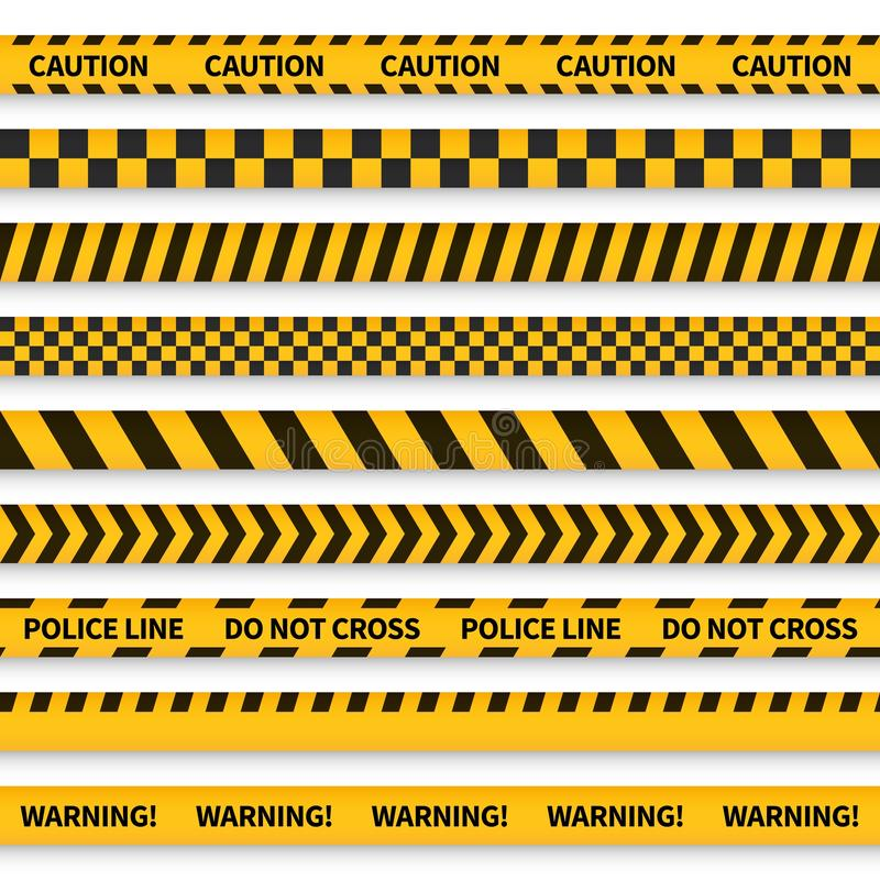 Police tape. Yellow taped barricade warning danger police stripes crime safety line attention border barrier, flat set stock illustration