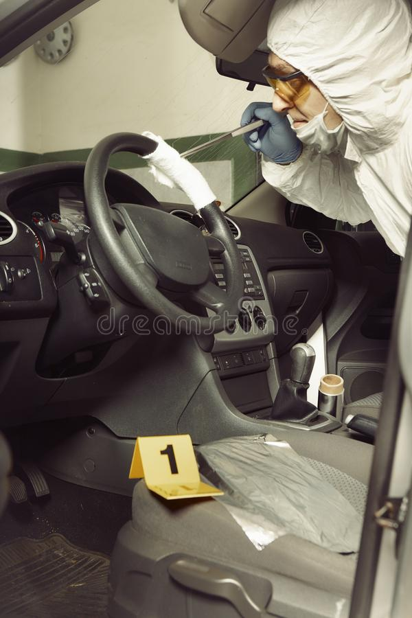 Police team working on odor traces in suspected confiscated car stock images