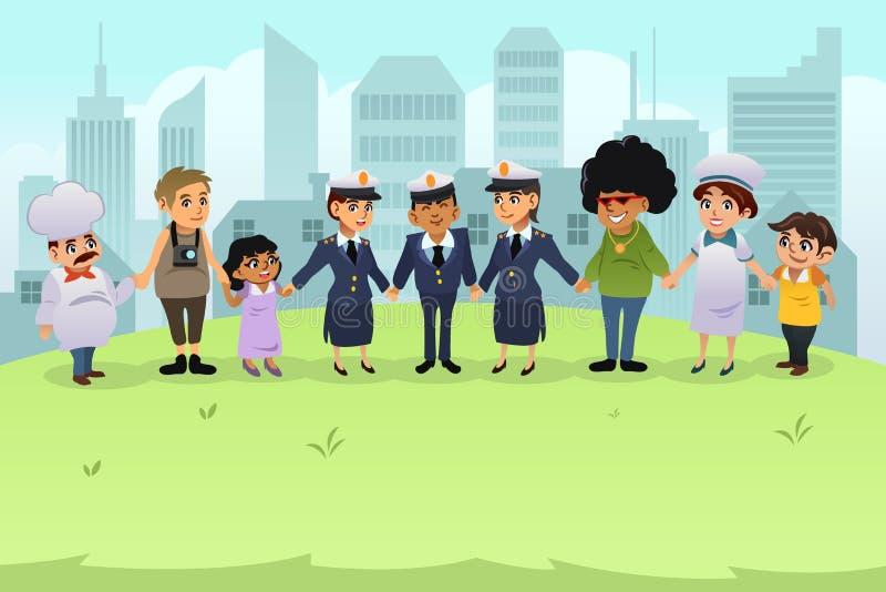 Download Police Tenant Des Mains Avec Des Citoyens Illustration de Vecteur - Illustration du mâle, application: 77161823