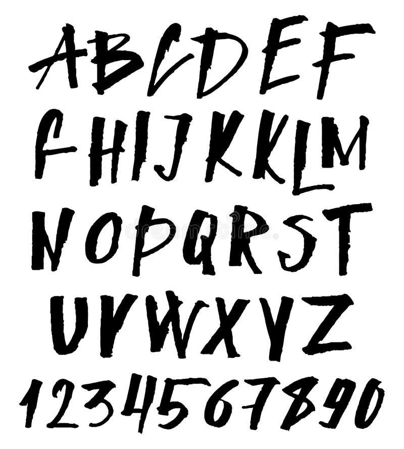 Police tirée par la main de brosse ABC peint à la main majuscule et minuscule d'encre, lettres créatives pour votre conception illustration de vecteur