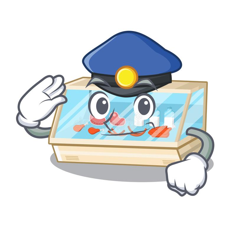 Police trade counter in the mascot shape. Vector illustration stock illustration