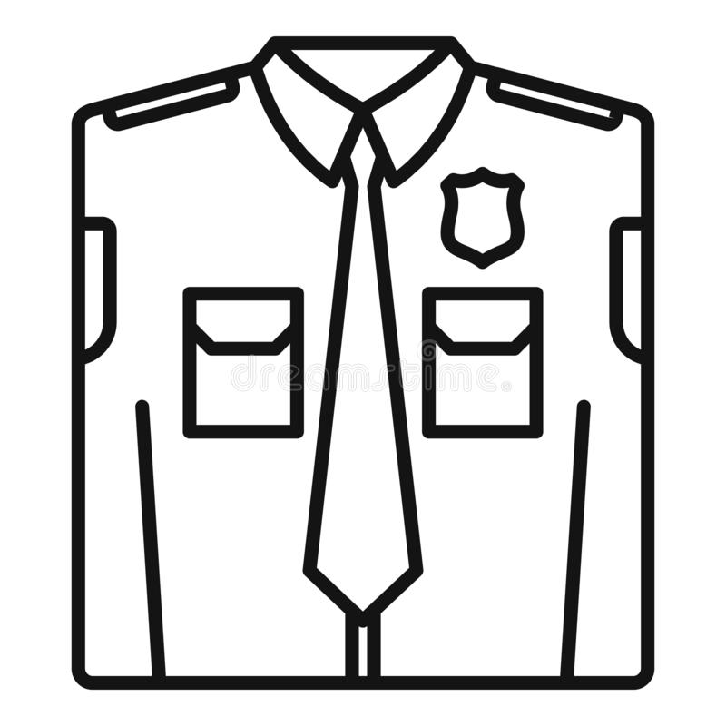 Police uniform icon, outline style vector illustration