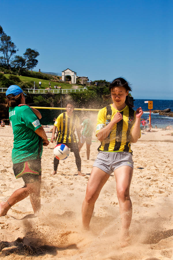 Police v students beach soccer comp royalty free stock images