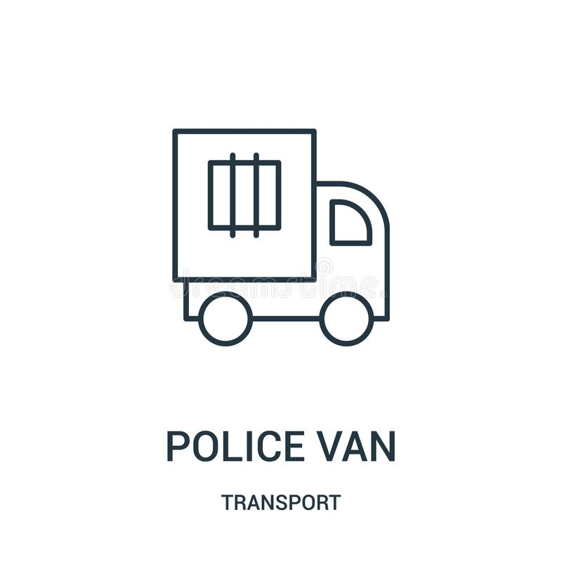 police van icon vector from transport collection. Thin line police van outline icon vector illustration royalty free illustration