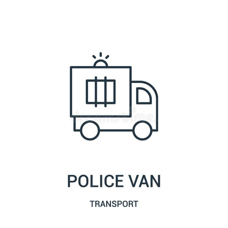 police van icon vector from transport collection. Thin line police van outline icon vector illustration stock illustration