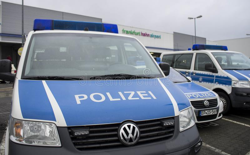 Police vehicle in International airport in Frankfurt Hahn, Germany royalty free stock photography