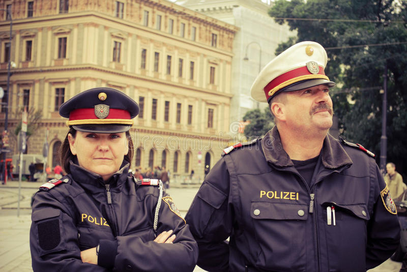 Police in Vienna royalty free stock image