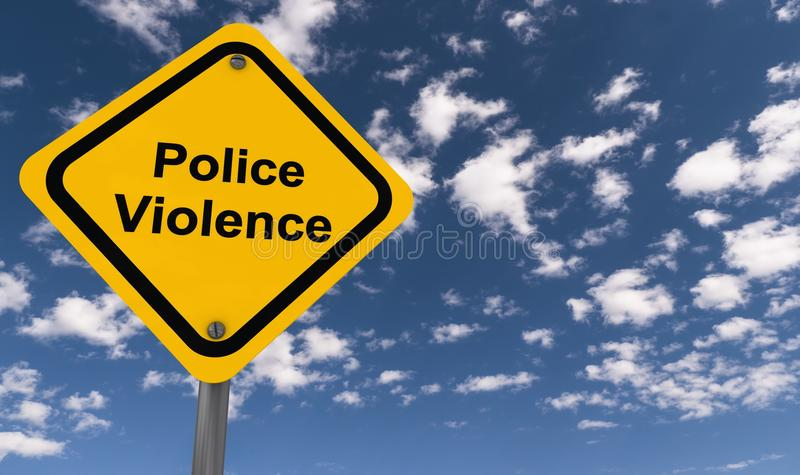 Police violence road sign. A yellow police violence road sign with the sky in the background stock photo