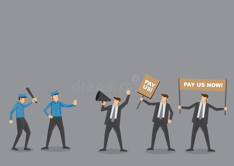 Police vs Employees on Riot Vector Cartoon Illustration. Police trying to control angry employees on protest to demand for wages. Cartoon vector illustration vector illustration