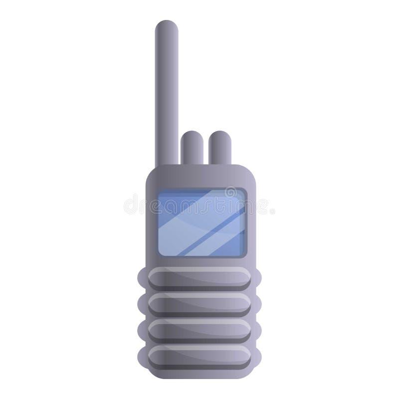 Police walkie talkie icon, cartoon style vector illustration