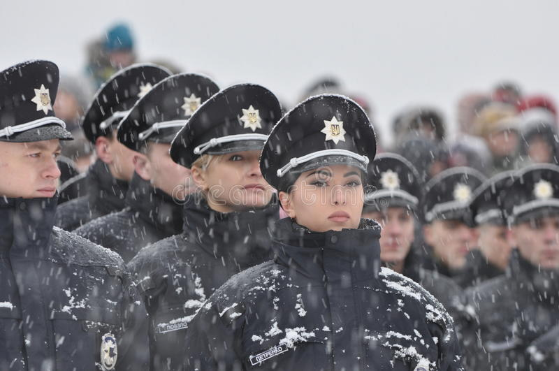 Police. In the winter before going on patrol
