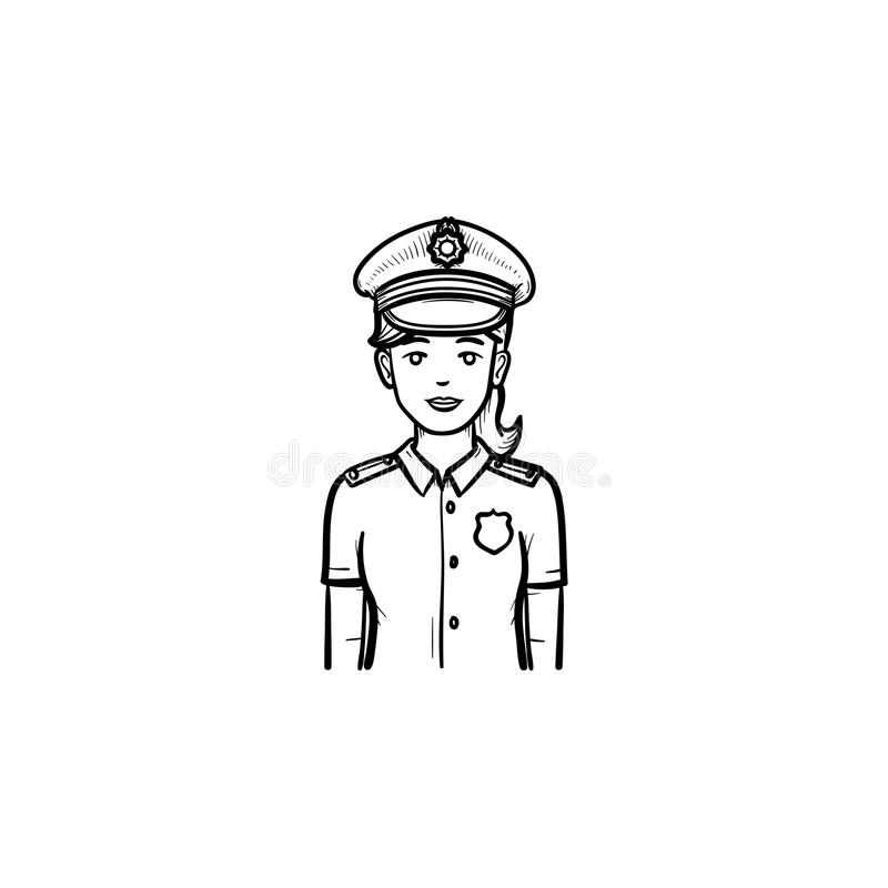 Police woman hand drawn outline doodle icon. Female police officer in uniform as authority and patrol concept. Vector sketch illustration for print, web royalty free illustration