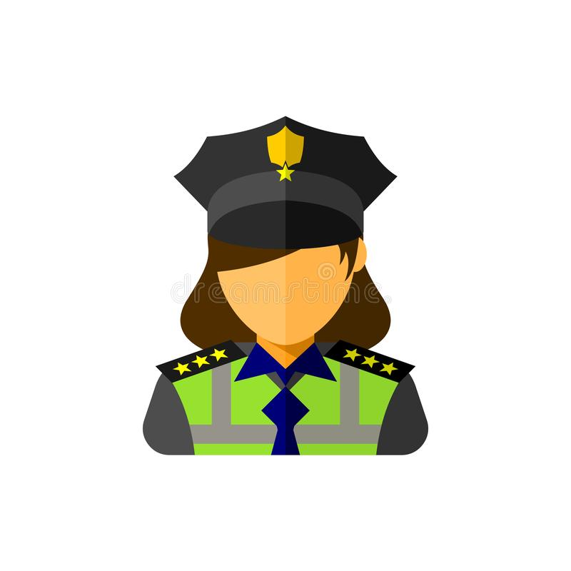 Police woman officer icon. vector illustration