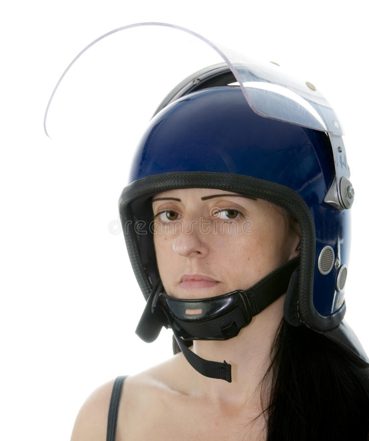 Police woman in riot helmet royalty free stock photography