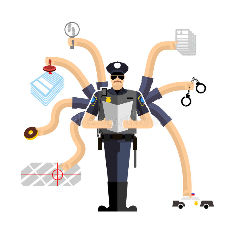Police work. Officer on duty. Detention of criminals. Handcuffs royalty free illustration