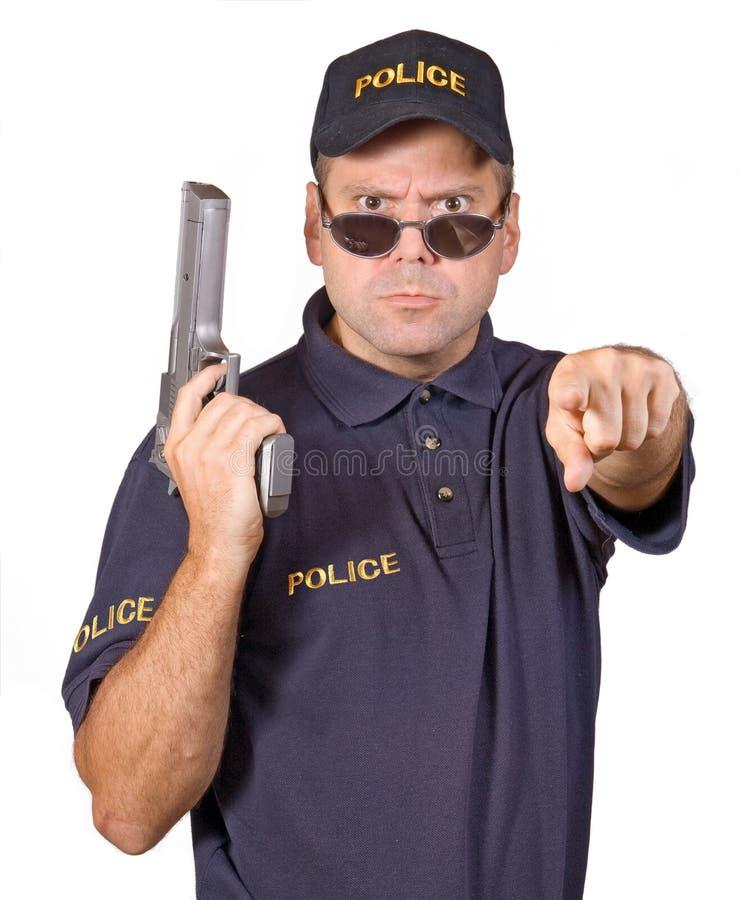 Policeman. Rigorous policeman isolated on white background royalty free stock photography