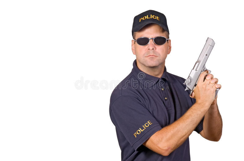 Policeman. Holding gun isolated on white background stock image