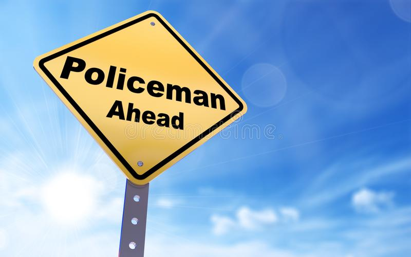 Policeman ahead sign royalty free illustration