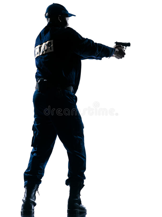 Download Policeman aiming handgun stock image. Image of full, french - 23092487