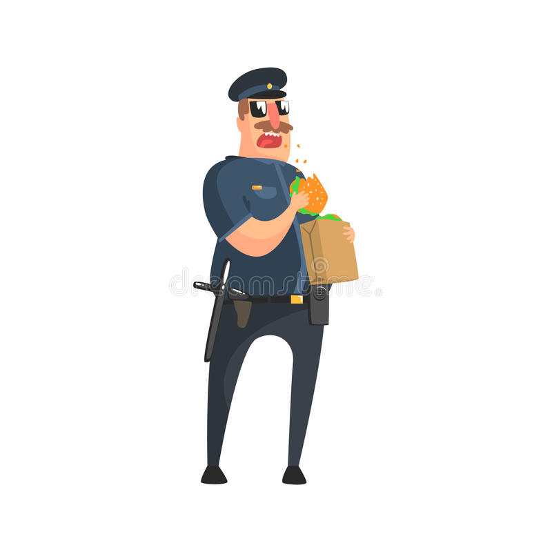 Policeman In American Cop Uniform With Truncheon, Radio, Gun Holster And Sunglasses Having Lunch From Paper Bag vector illustration
