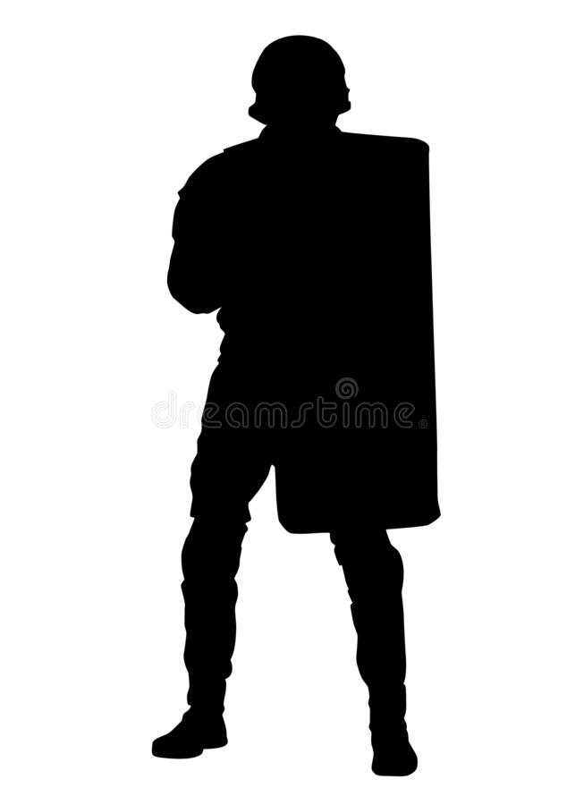 Policeman with anti riot shield vector silhouette royalty free stock photos