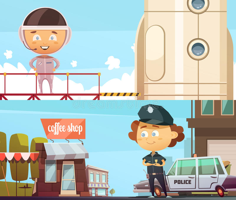 Policeman And Astronaut Professions Banners vector illustration