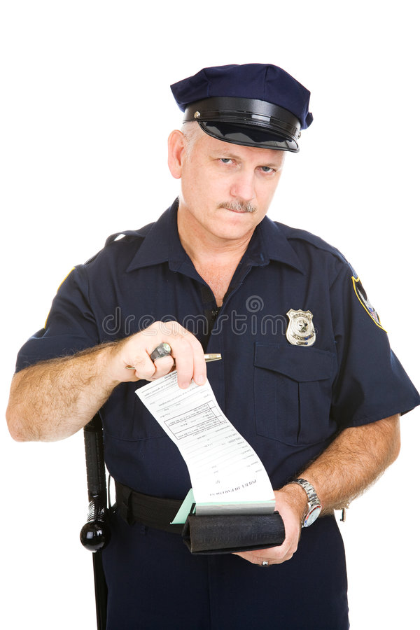 Policeman With Blank Citation Stock Photos