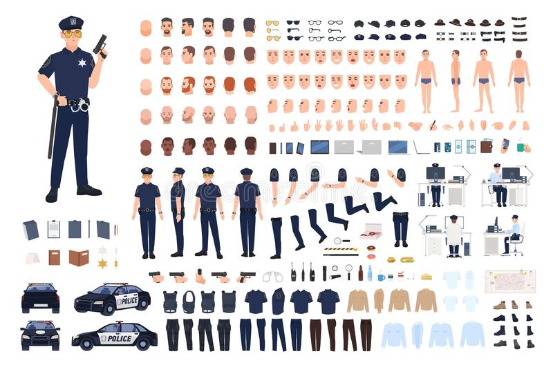 Policeman creation set or DIY kit. Collection of male police officer body parts, facial gestures, hairstyles, uniform stock illustration