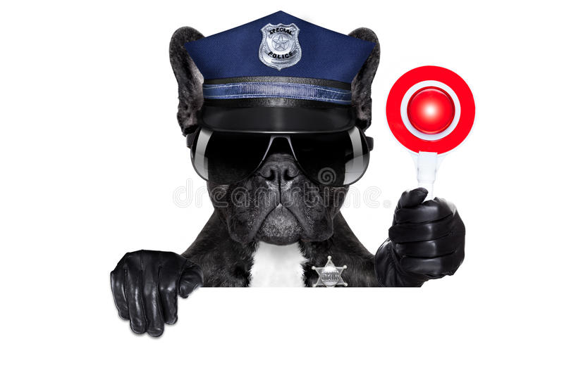 Policeman dog with stop sign stock image