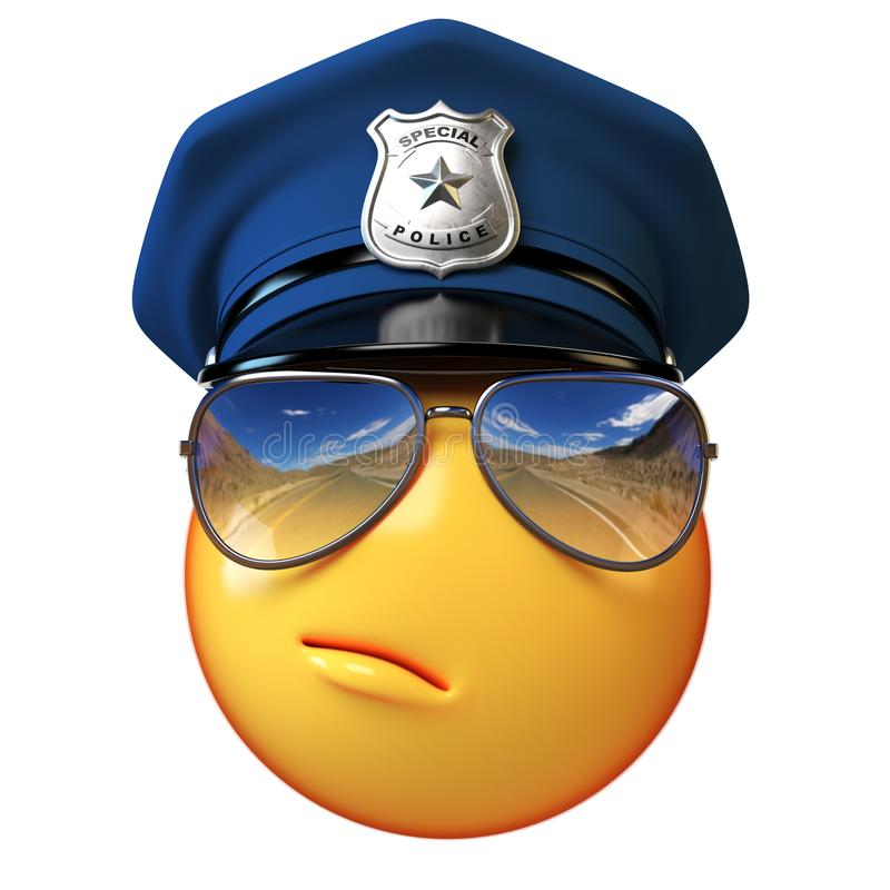 Policeman emoji isolated on white background, cop emoticon 3d rendering royalty free illustration
