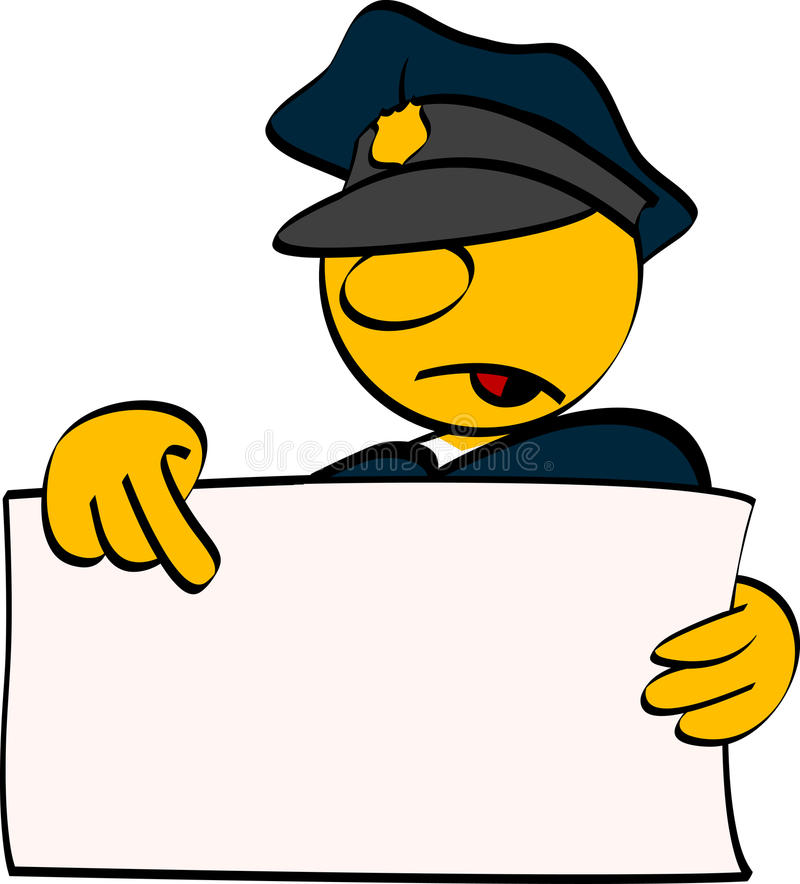 Policeman with empty board
