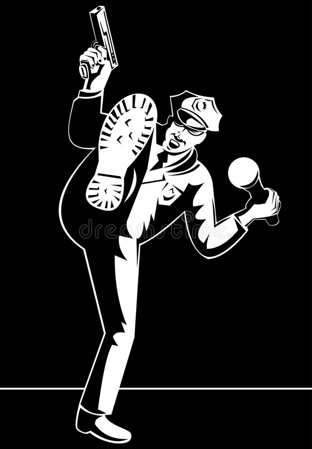 Policeman with flashlight and gun royalty free illustration