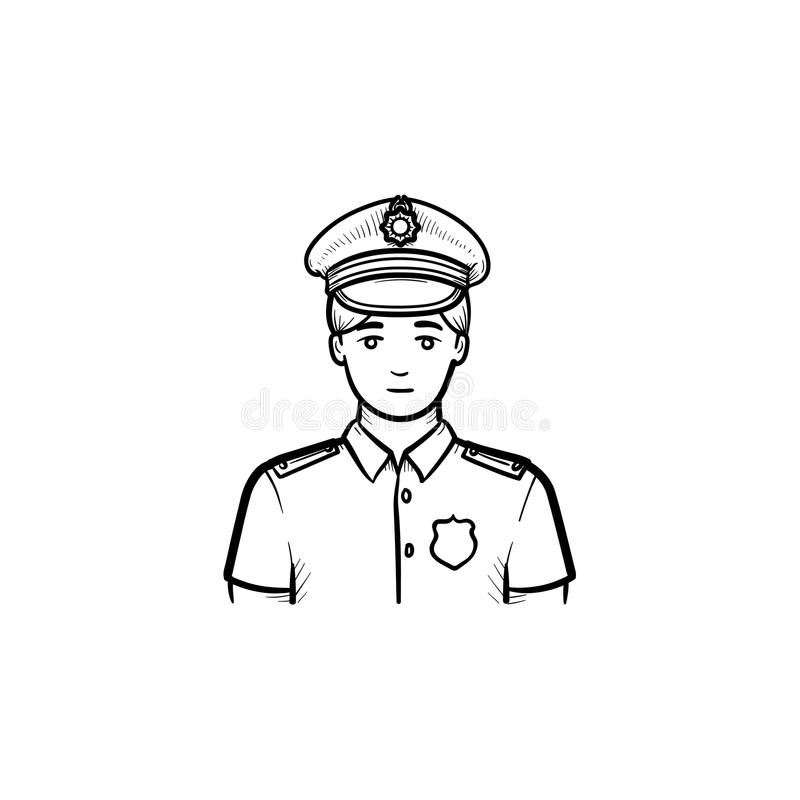 Policeman hand drawn outline doodle icon. Police officer in uniform as authority, power and patrol concept. Vector sketch illustration for print, web, mobile royalty free illustration