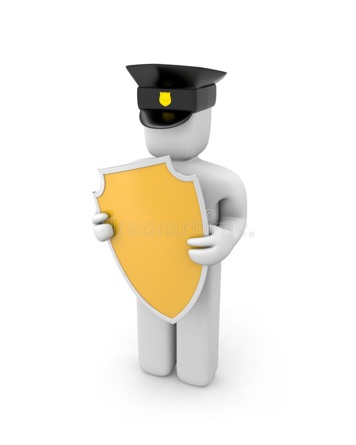 Download Policeman hold shield stock illustration. Image of order - 16188683