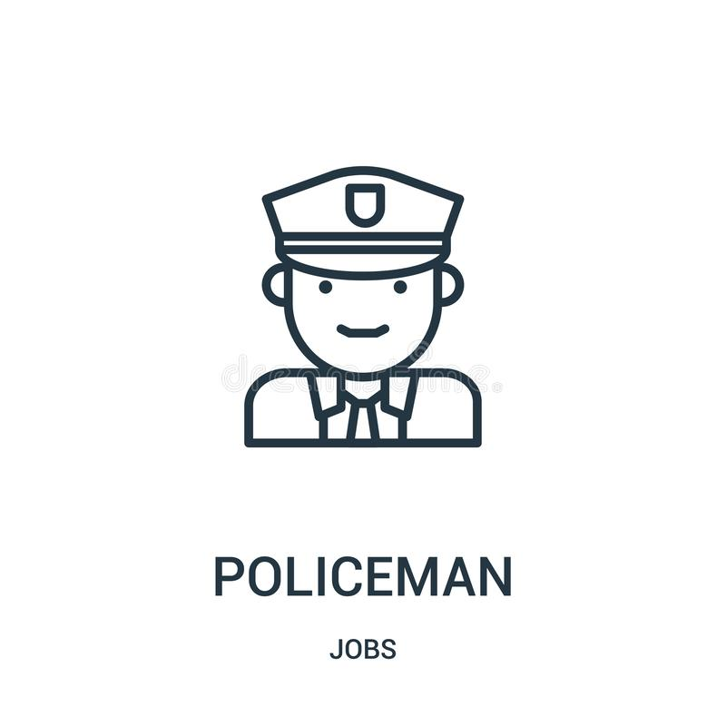 policeman icon vector from jobs collection. Thin line policeman outline icon vector illustration. Linear symbol royalty free illustration