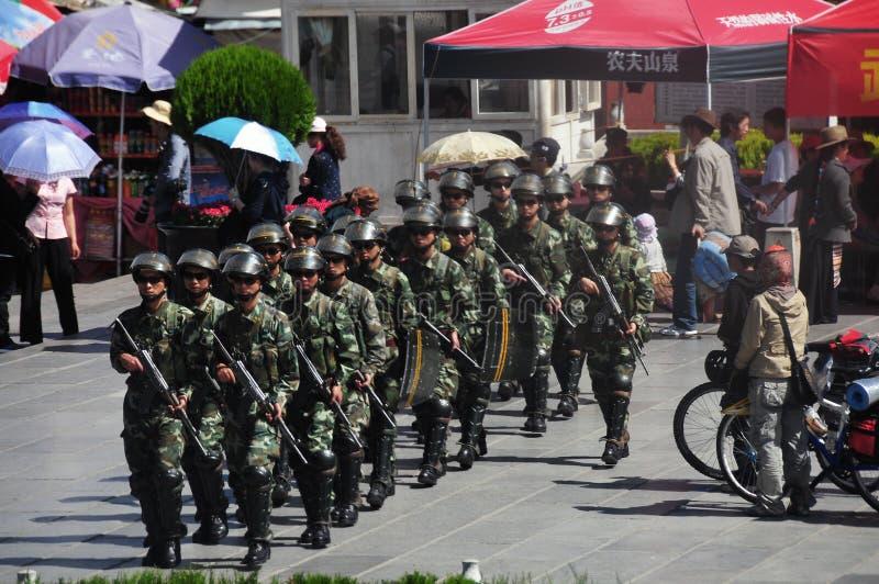 Policeman at the Lhasa ,Tibet royalty free stock photo