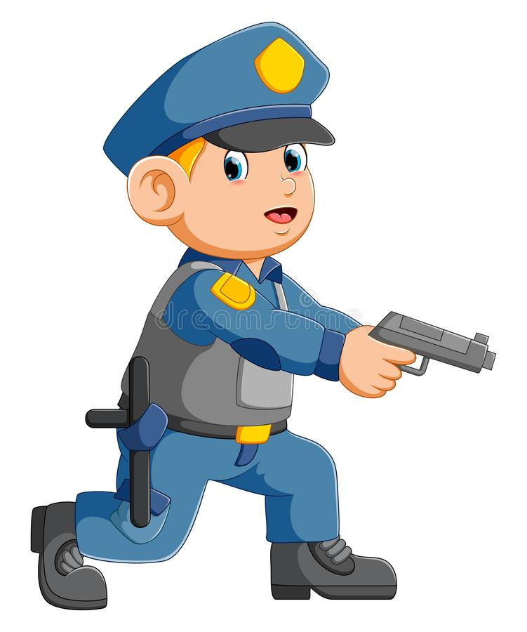 Policeman officer aiming with pistol royalty free illustration
