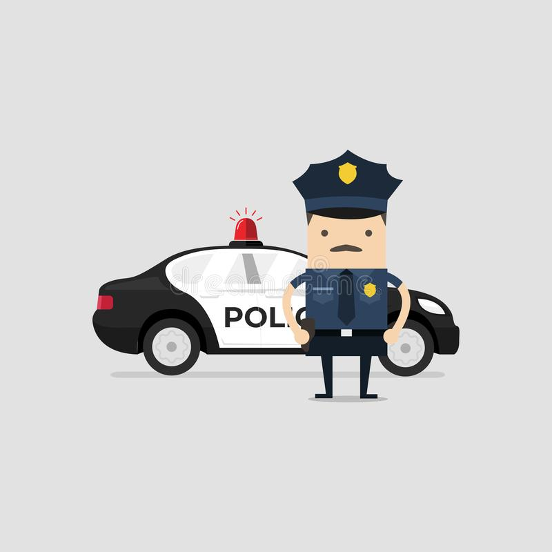 Policeman officer in uniform with police car. Funny cop cartoon character. vector illustration
