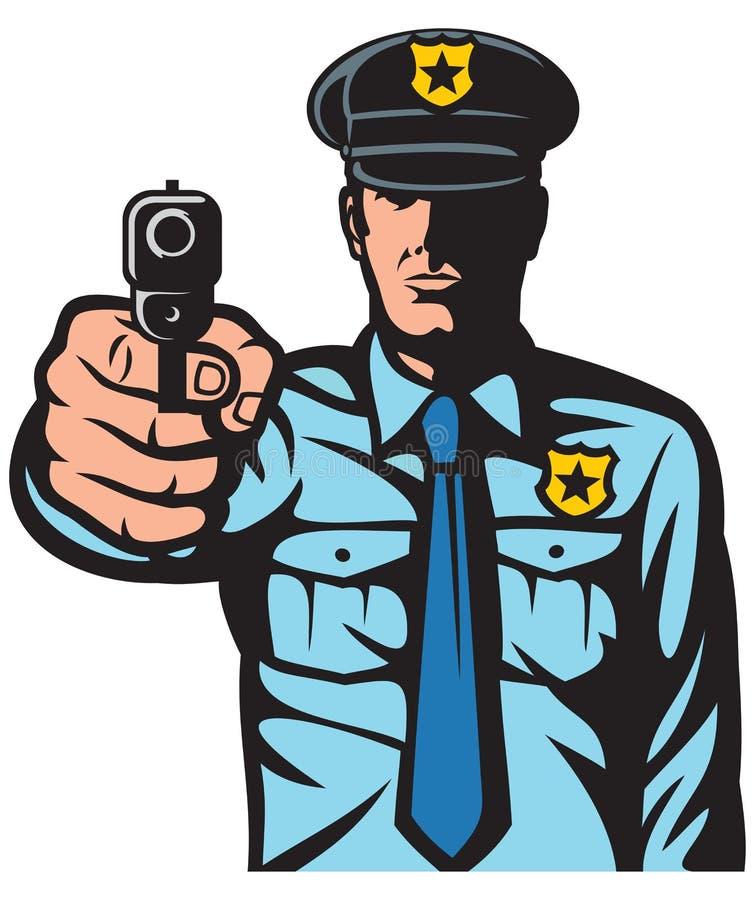 Policeman pointing a gun royalty free illustration