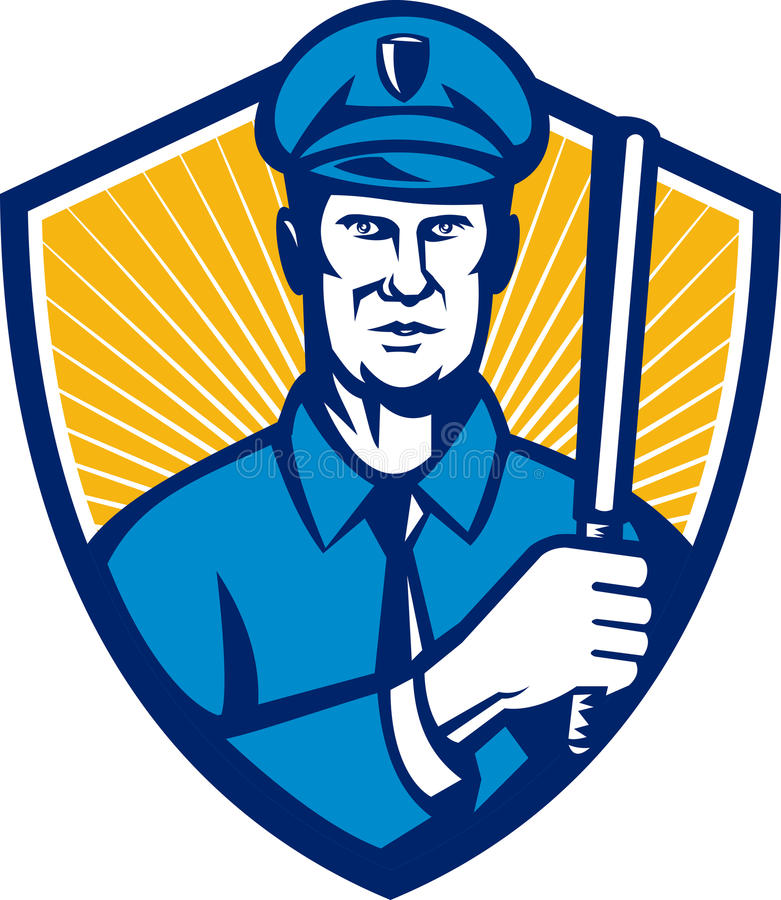 Policeman Police Officer Baton Shield Retro stock illustration