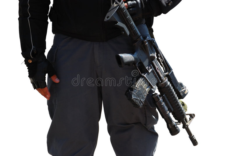Policeman And Rifle Royalty Free Stock Photo
