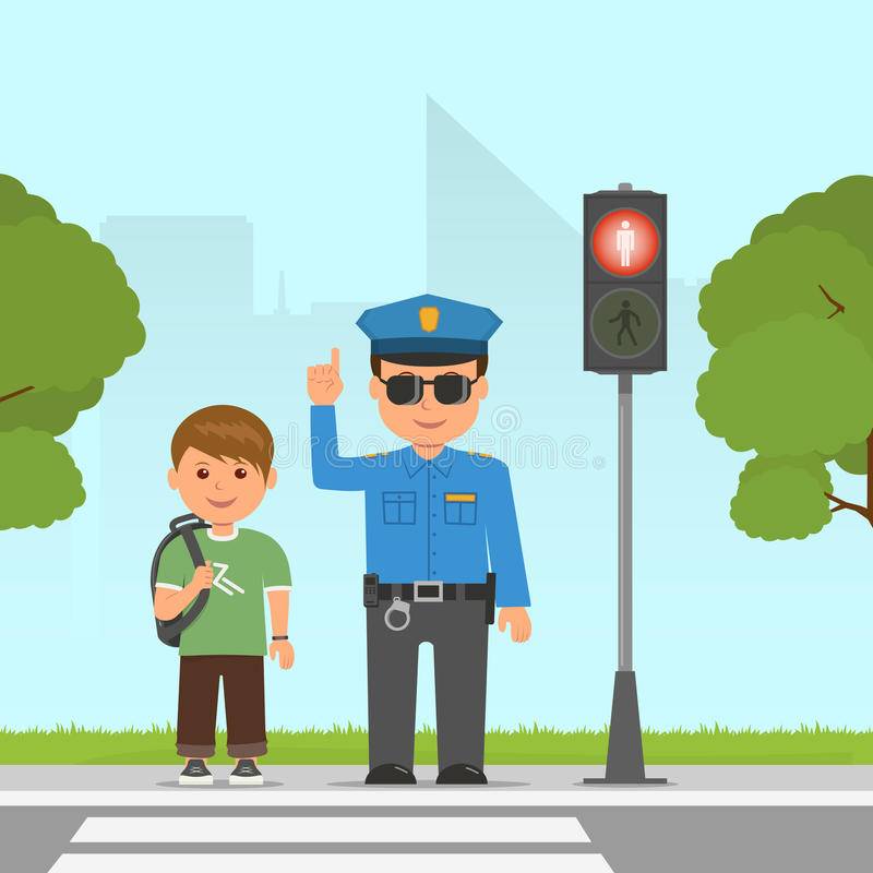 Policeman shows and explains the highway code for student. Pedestrian traffic light. Traffic at the crossroads. stock illustration