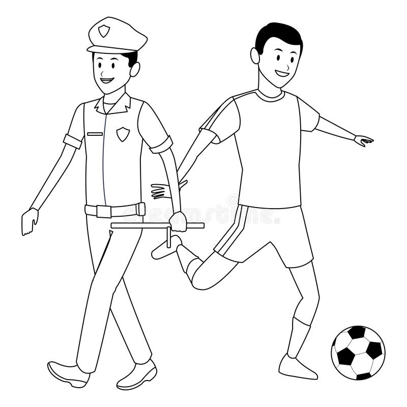 Policeman and soccer player stock illustration