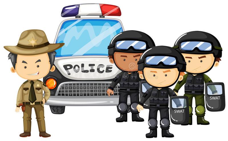 Policeman and SWAT team in uniform stock illustration