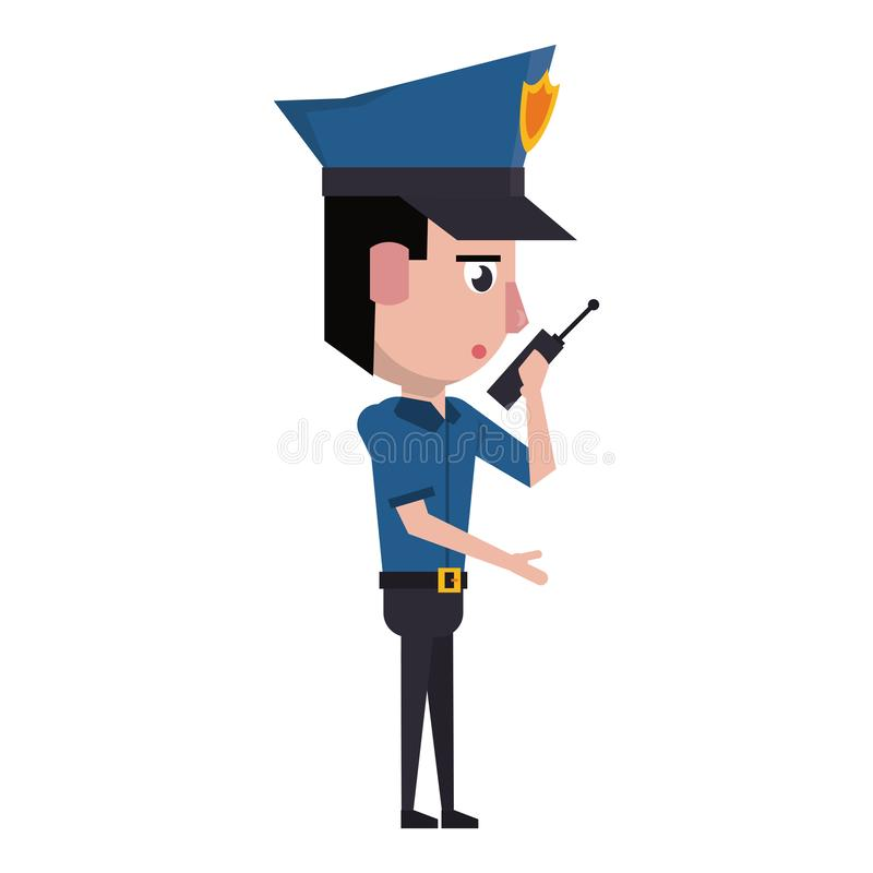 Policeman working avatar cartoon character. Policeman working with radio communicator avatar cartoon character portrait vector illustration graphic design vector illustration