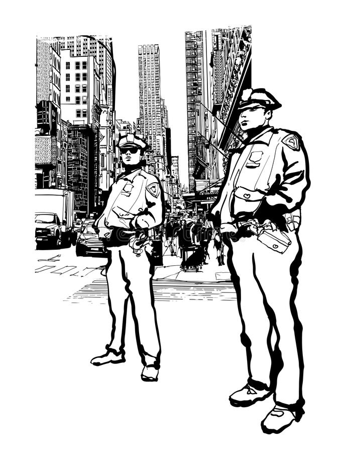 Policemen in the 5th avenue in New York. Vector illustration royalty free illustration