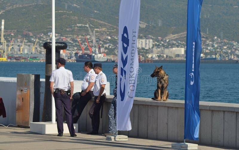 Policemen and their German shepherd royalty free stock images