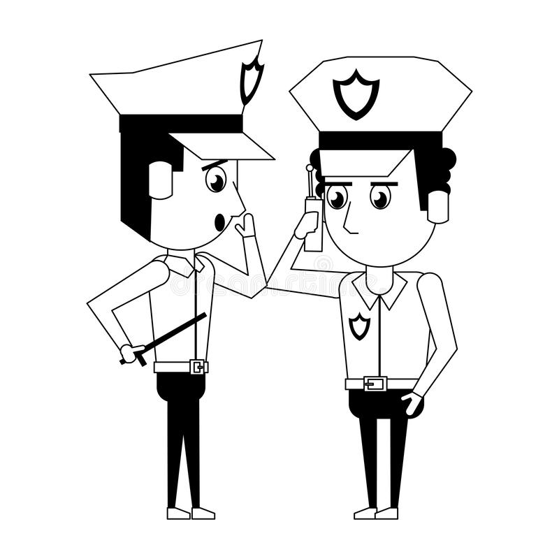 Policemen working avatar cartoon character in black and white. Two policemen working afroamerican policeman using a radio communicator the avatar cartoon royalty free illustration